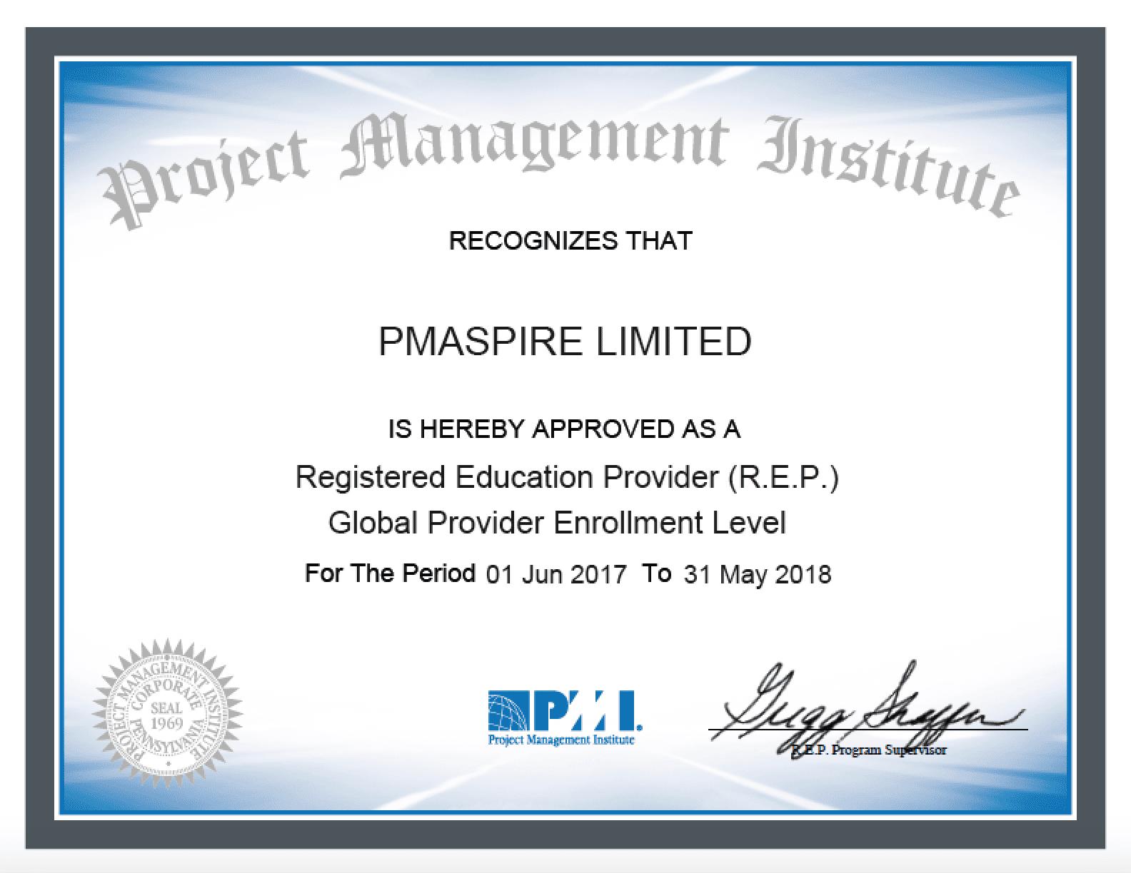 #pmaspire # PMI REP Certificate_4506
